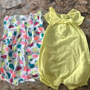 Fruit and Yellow Polka Dot Rompers Bundle